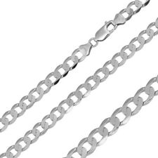 Men Women 6.6mm Sterling Silver Italian Necklace Rhodium Plated Flat Curb Chain