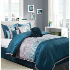 NEW Queen Cal King Bed Blue Silver Faux Silk Elegant Floral 7 pc Comforter Set