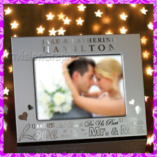 5x7 Personalized Custom Engraved Couples Metal Picture Frame Great Wedding Gift