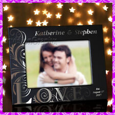 5x7 Personalized Custom Engraved Love Theme Couples Wedding Metal Picture Frame