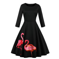 1950s Vintage Rockabilly Swing PIN UP Party Evening Long Sleeve Dress Flamingo