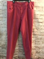 Mens Loro Piana Washed Red Twill Flat Front Casual Pants 38