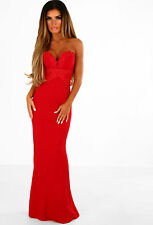 NEW Pink Boutique Ladies Flower Of Love Red Embroidered Strapless Maxi Dress