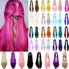 Women Cosplay Full Wig Curly Wave Straight Ombre Hair Costume Party Fancy Dress