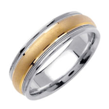 Men 6.5mm 14K Two Tone Gold Comfort Fit Wedding Ring Band / Free Gift Box