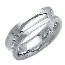 Men 7mm 14K White Gold Concaved Comfort Fit Wedding Ring Band