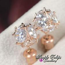 18CT Rose Gold Plated Shinning Ball Stud Earrings Made With Swarovski Crystal