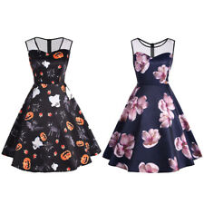 50's Womens Floral Rose Hell Bunny Eternity Rockabilly Swing Retro Vintage Dress