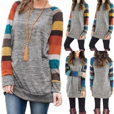 Womens Crew Neck Striped Long Sleeve T-Shirt Ladies Casual Loose Tops Blouse