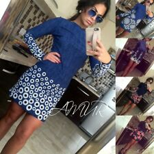 Women Long Sleeve Bodycon One-piece Dress Casual Party Floral Mini Dress