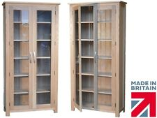 Solid Oak Display Cabinet, 6ft Tall Glazed Shelving Bookcase, China Cabinet