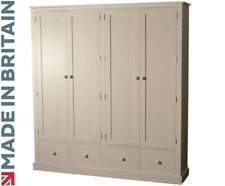 """Solid Pine Cupboard, 6ft 8"""" White Painted Pantry, Linen, Kitchen Storage Cabinet"""