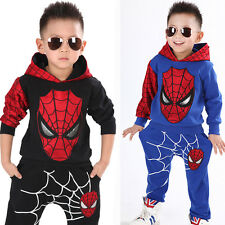 2-7 Year Baby Kids Boys Spider-man Sweatshirt Sport Tracksuits 2pcs Outfit Sets