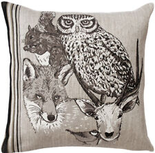 Forest Spirit Hibou French Animal Tapestry Cushion Pillow Cover - 18 x 18 - NEW