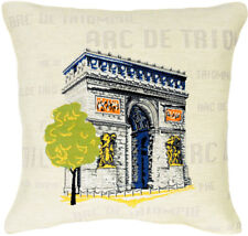 Arc De Triomphe Pop French Tapestry Cushion Pillow Cover - 18 x 18 - NEW