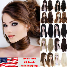 Women Long Hair Full Wig Real Soft Synthetic Hair Curly Wave Straight Hair L33