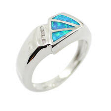 Fashion Plated Silver 925 Blue Fire Opal Gemstone Rings Jewelry Size 6-9 Gift