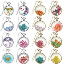 Natural Real Dried Flower Cube Resin Crystal Necklace Round Pendant Jewelry New