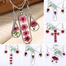 Women Dried Rose Flower Daisy Glass Pendant Necklace Earrings Jewellery Set Gift
