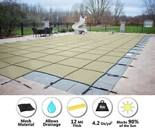 HPI Rectangle TAN MESH In-Ground Swimming Pool Safety Cover w/ 4'x8' End Step