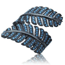 Women Sterling Silver Rhodium Plated, Simulated Turquoise Leaf Adjustable Ring