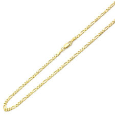 Men Women 14K Yellow Gold Chain 3mm Concaved Figaro Chain Necklace
