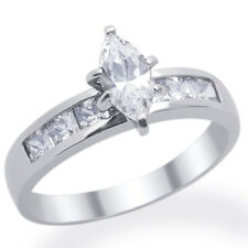 Women 14K White Gold Rhodium Plated Wedding Ring Marquise Cut CZ Solitaire Band