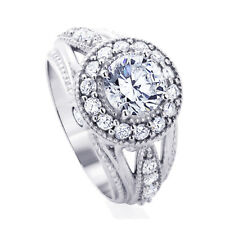 Women Sterling Silver 1.5ct Round CZ Halo Vintage Style Wedding Engagement Ring