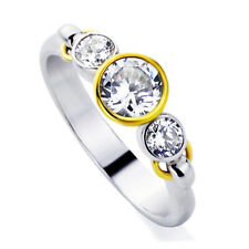 Women Sterling Silver 1ct Round CZ 14K Gold Plated Bezel 3Stone Anniversary Ring