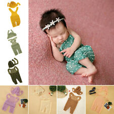 Soft Newborn Baby Unisex Knit Crochet Romper Hat Photo Photography Props Outfit