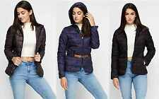 Ladies Thick Quilted Padded Bubble Hooded Womens Zip Up Puffer Jacket Size