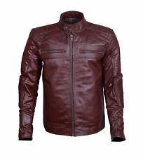 Men's Biker Vintage Cafe Racer Motorcycle Burgundy Distress Leather Jacket