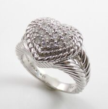 Judith Ripka Signature Sterling Silver Heart Cluster DQ Diamonique CZ Cable Ring
