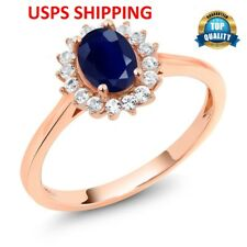 10K Rose Gold Round Cut 1.26Ct Ring With Blue Oval Created Sapphire  Ring