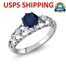 Solid 925 Sterling Silver Round Cut 1.08 Ct Ring Blue Sapphire White Zirconia