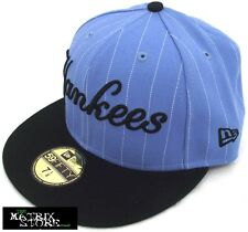NEW ERA PIN SCRIPT MLB 59FIFTY FITTED CAP - NEW YORK YANKEES - SKY BLUE/BLACK