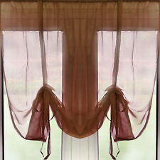 """Slot Top Tie Blind Voile Curtain Panel – 54"""" Drop – Chocolate – Ready Made"""