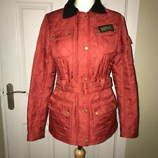 Ladies BARBOUR Red Quilted Lightweight Belted Jacket Coat UK 10