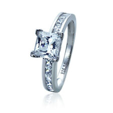 Women Silver Rhodium Plated 1.25ct Princess CZ Channel Solitaire Engagement Ring