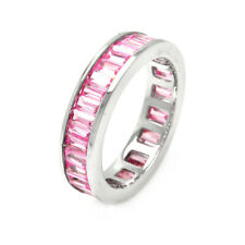 Women Silver Rhodium Plated Channel Pink Baguette CZ Eternity Ring Wedding Band