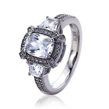 Women Sterling Silver Rhodium Plated 1.5ct Rectangula CZ Vintage Engagement Ring