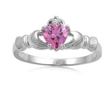 Women Sterling Silver Pink CZ Heart Claddagh Ring 9MM / Free Gift Box