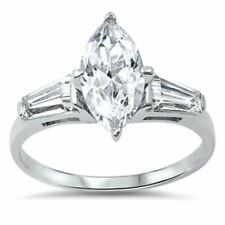 Women Sterling Silver Baguette Accent Marquise CZ Solitaire Engagement Ring 14MM