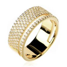 Women Sterling Silver 14K Gold Plated Modern Double Band CZ Pave Set Ring 8mm