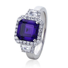 Women Silver Rhodium Plated 3ct Asscher Simulated Amethyst CZ Anniversary Ring