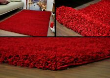 Red Small X Large Modern Plain 5cm Shaggy Rugs Thick Soft Pile Area Rug Mats