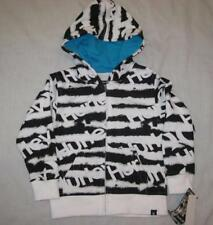 HURLEY boys white black striped logo full zip hoodie sweatshirt jacket $48 NEW