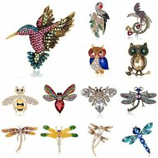 Womens Animal Pearl Bird Owl Dragonfly Bee Crystal Brooch Pin Costume Jewellery