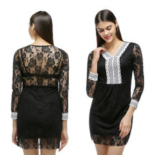Womens New Evening Party Dress Bodycon Cocktail Dress V-neck Lace Dress
