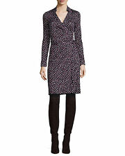 nwt Diane von Furstenberg NEW JEANNE TWO Wrap Silk Dress in PIROUETTE DOT NAVY